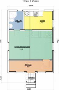Проект дома, план первого этажа