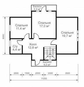 """Проект дома """"11 на 6"""" план второго этажа"""
