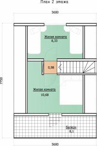 Проект дома, план второго этаж