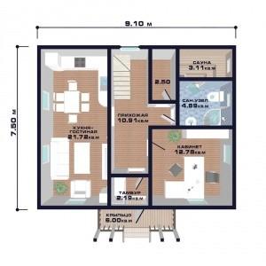 "Проект дома ""Австрия"", план первого этажа"