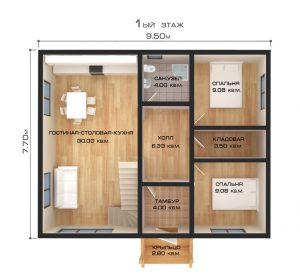 """Проект дома """"Альпы"""", план первого этажа"""