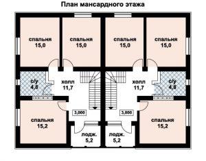 Дом на двух хозяев, план мансардного этажа