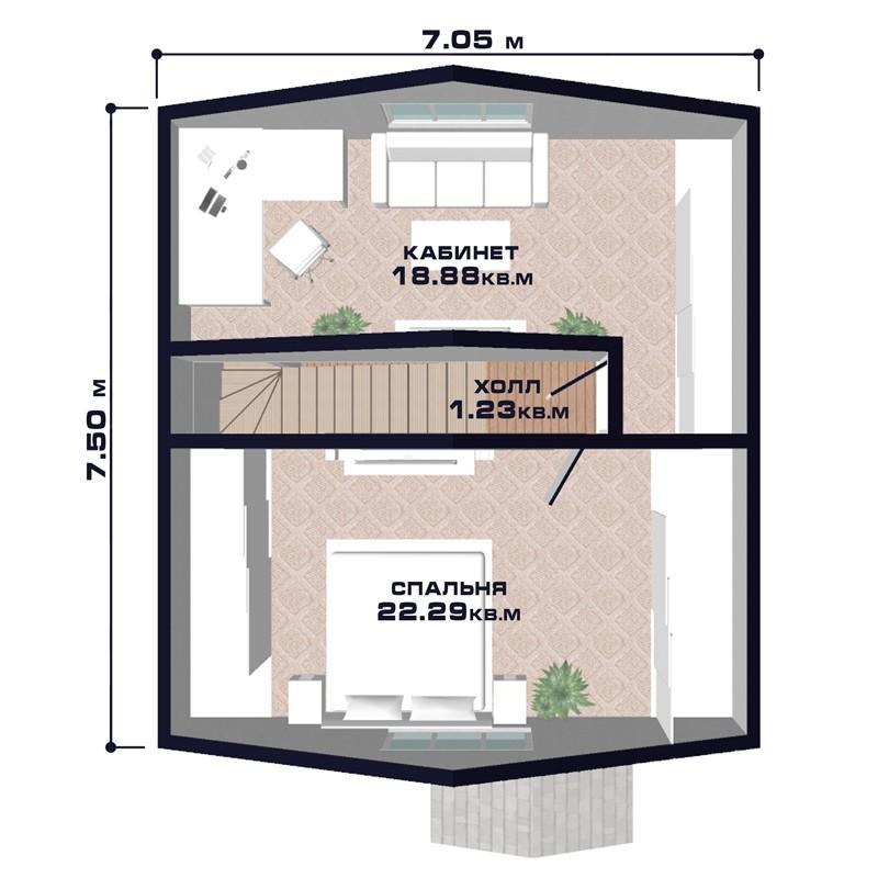 """Проект дома """"Брест"""",, второй этаж"""