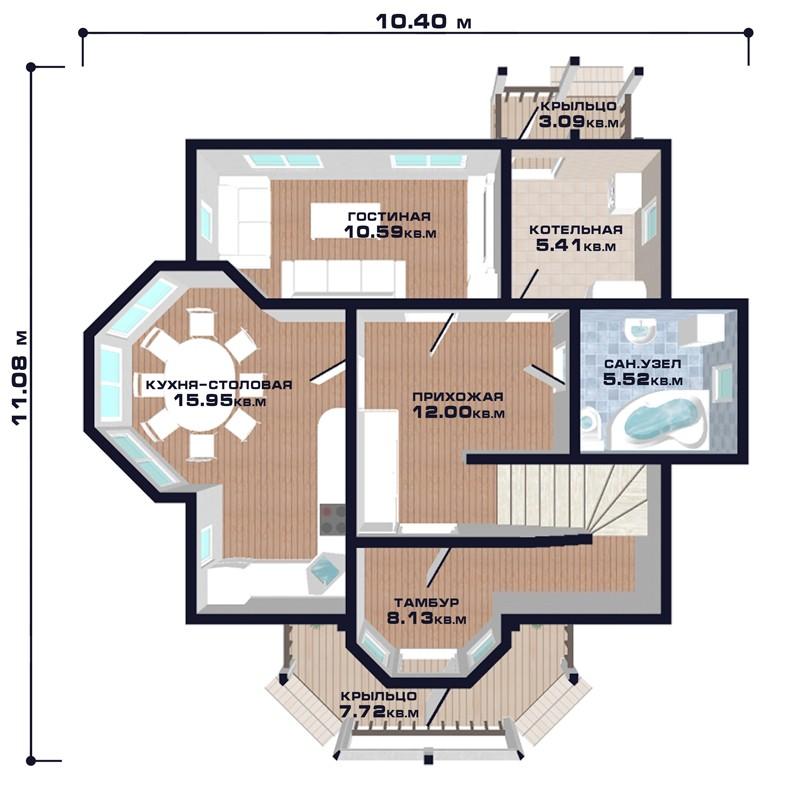 "Проект дома ""Грац"", план первого этажа, БалтСипДом"