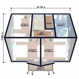"Проект дома ""Австрия"" план второго этажа"