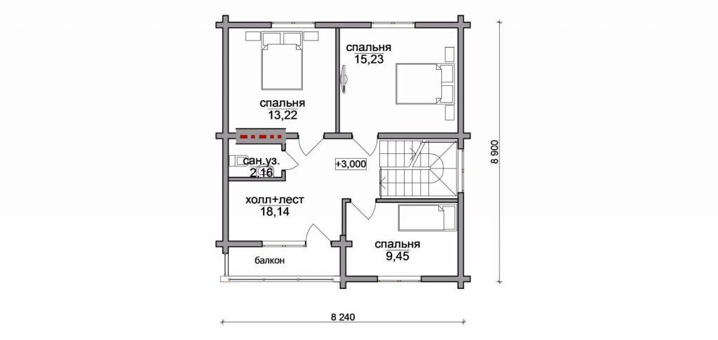 "Проект дома ""Коттедж"", план второго этажа, БалтСипДом"