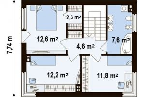 "Проект дома ""Куб 3"" план второго этажа"
