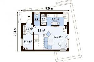 """Проект дома """"Куб 3"""" план первого этажа"""
