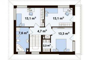 "Проект дома ""Куб 2"" план второго этажа"