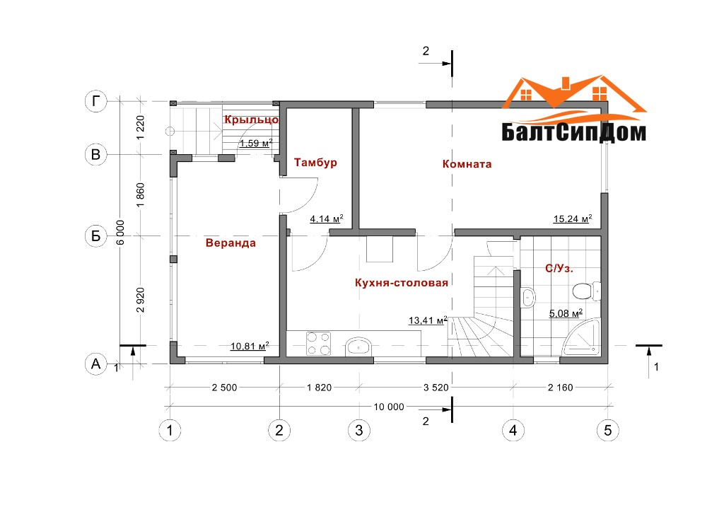 роект дома из сип панелей, план первого этажа
