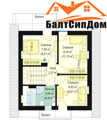 Проект дома, план мансардного этажа