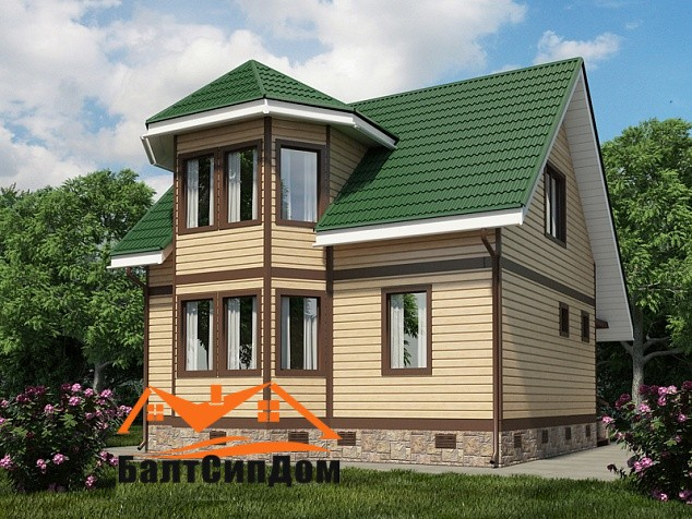 Проект Сип дома с мансардой
