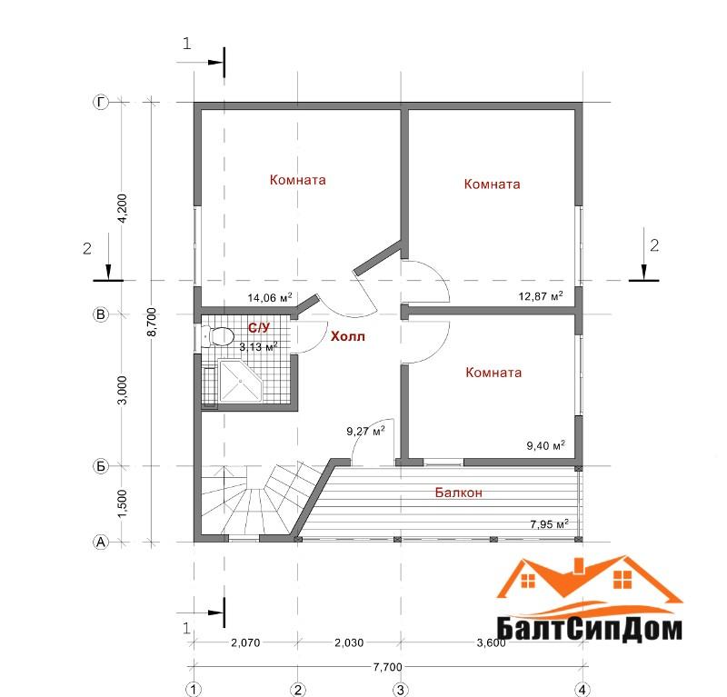Проект дома из сип панелей, план второго этажа