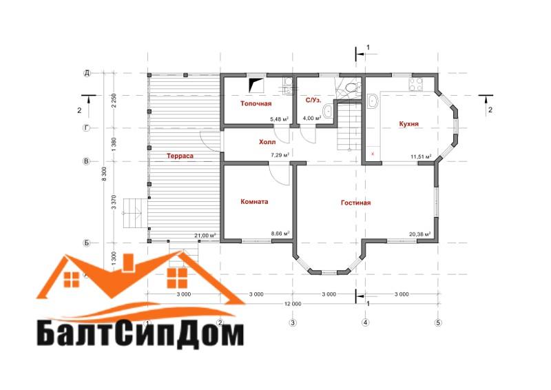 Проект дома с террасой, план этажа