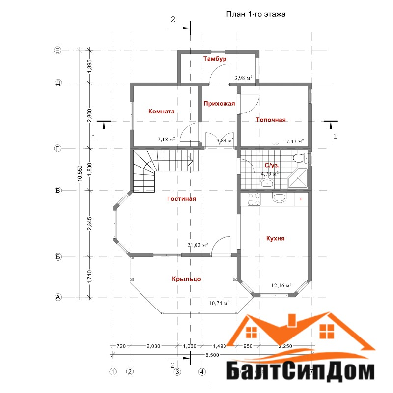 Проект дома из сип панелей, план первого этажа