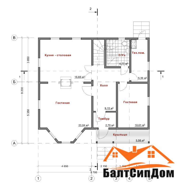 Проект дома из SIP панелей, план первого этажа