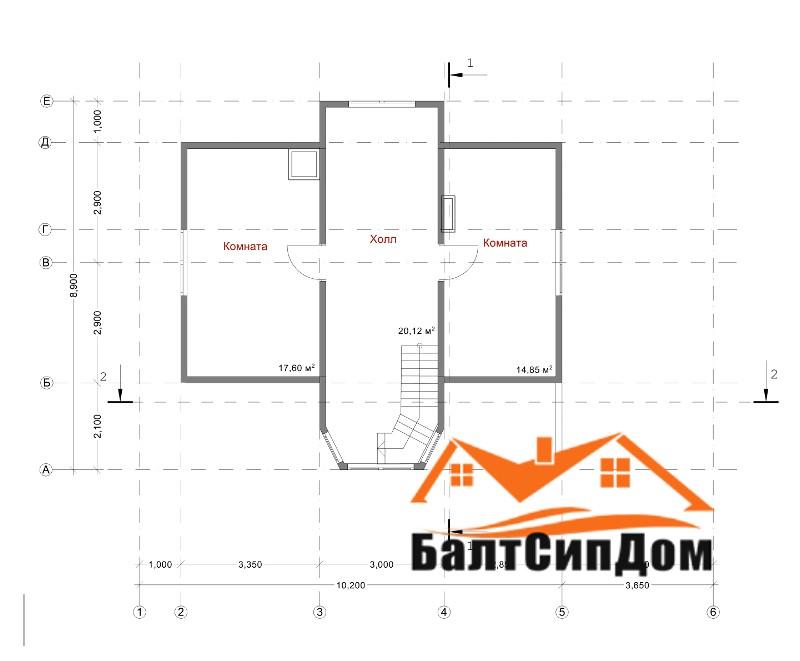 Проект дома из сип панелей, план мансардного этажа