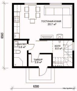 Проект двухэтажного дома СИП-41 план первого этажа