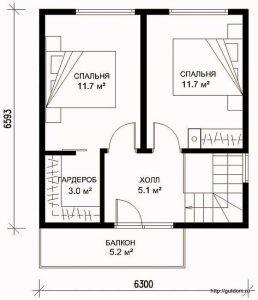 Проект двухэтажного дома СИП-41 план второго этажа