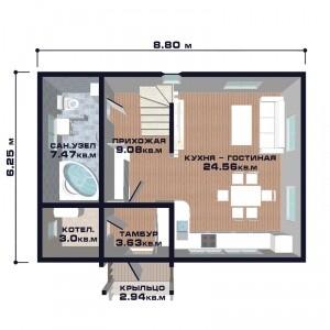 """Проект дома """"Новая Флоренция"""", план первого этажа"""