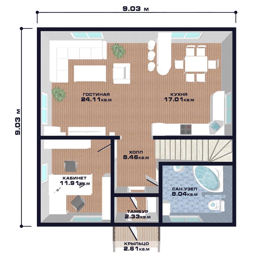 "Проект дома ""Вена"", план первого этажа"