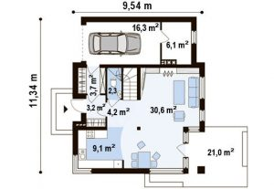 """Проект дома """"Куб"""" план первого этажа"""