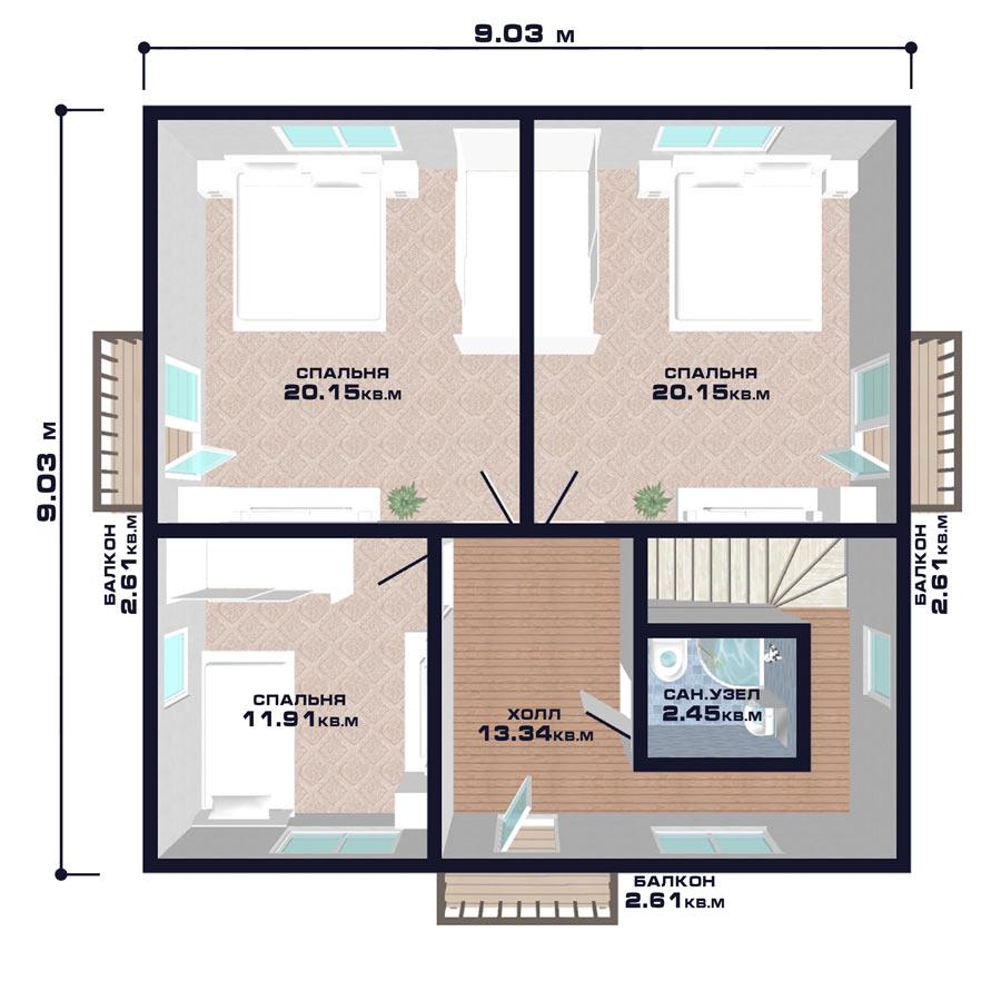 """Проект дома """"Вена"""", план второго этажа"""