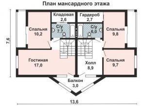 Дом на двух хозяев план мансардного этажа