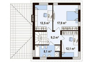 "Проект дома ""Куб"" план второго этажа"