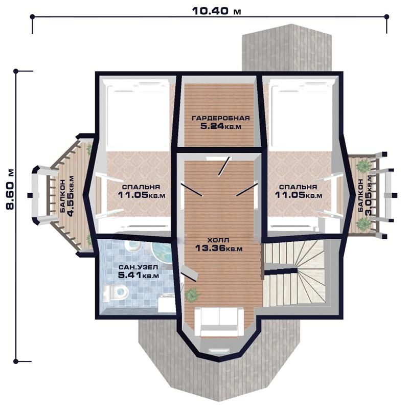 """Проект дома """"Грац"""", план второго этажа, БалтСипДом"""