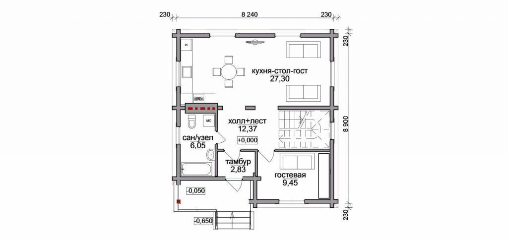 "Проект дома ""Коттедж"", план первого этажа, БалтСипДом"