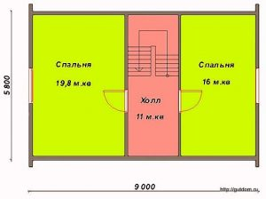План мансарды дома. Проект СИП-45