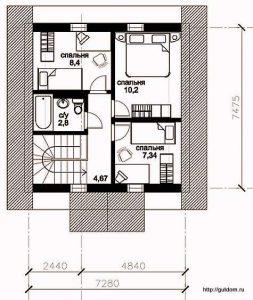 План мансарды этажа Проект СИП-121