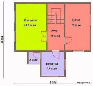 План первого этажа дома. Проект СИП-45
